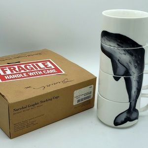 Narwhal Coffee Mug Tea Stacking Cups Modern Set